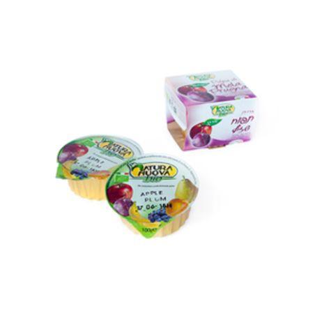 מחית תפוח שזיף אורגני ללא תוספת סוכר - 200 גרם