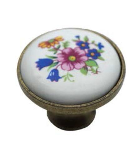 ידית כפתור פורצלן פרחים כחול ורוד