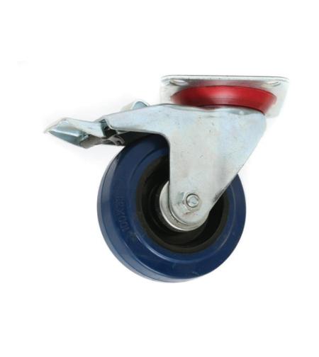 גלגל תעשייתי אלסטי כחול + מעצור